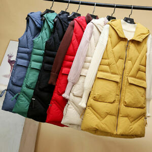 Womens Hooded Quilted Zip Up Gilet Waistcoat Padded Winter Vest Body Warmer