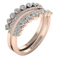 Journey Engagement Double Ring Natural Diamond SI1 G 1.30 Ct Prong Set Rose Gold