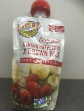 Earth's Best 9 pk of 4.2 oz Banana Raspberry Stage 2 Baby Food Pouches- Exp 2/21