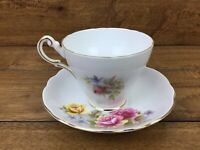 Vintage Regency English Bone China Pink Yellow Rose Tea Cup & Saucer Gold Trim