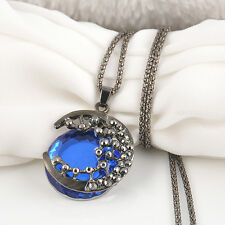 Fashion Lady Jewelry Blue Crystal Moon Retro Pendant Sweater Long Chain Necklace