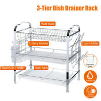 Over Sink Dish Drying Rack Drainer Stainless Steel Kitchen Cutlery Holder  H