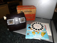 Viewmaster Model E Viewer Brown Bakelite working boxed 1950's