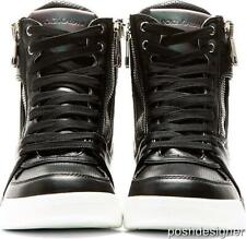 Dolce Gabbana Black Leather High Top Trainers Sneakers Boots UK7 41 US8