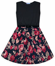 Girls Skater Dress Kids Floral Party Dresses New Age 5 6 7 8 9 10 11 12 13 Years
