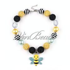 Cartoon Honey Bee Charm Pendant Chunky Bead Bubblegum Gumball Necklace DIY