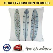 Feather Leaf Design Print Cotton Linen Cushion Cover Bed Sofa Throw Pillow Case