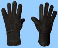 NEW MENS size 9 or large BLACK SHEARLING LAMBSKIN SUEDE LEATHER GLOVES-FUR LINED