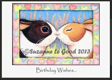 ORIGINAL LARGE CUTE DUTCH RABBIT PAINTING BIRTHDAY CARD BY SUZANNE LE GOOD