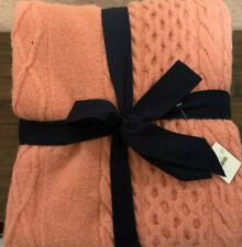 New J Crew Cable Knit Wool Blend 50x70 Coral Throw Blanket