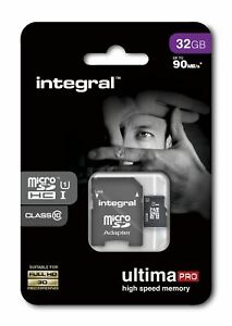 32GB Micro SDHC Memory Card - Fast Class 10 UHS-I U1 90MB/s with SD Adapter.