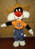 "Looney Tunes Vintage 1998 Peace Hippie Sylvester Plush Stuffed Toy 14"""