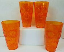 Halloween 4 Tumbler Goblet Orange Skeleton Gothic glass Drinking Water Table Set