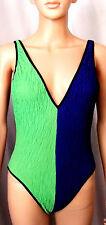 OSCAR DE LA RENTA  Colorblock Blue/Green/Black Crinkle One-Piece Swimsuit, Siz 6