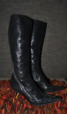 Free Lance Boots Paris France Midnght Black Tall Wrap-around Zip (38) 8/8.5 vntg