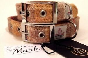 Mustard Check Harris Tweed dog collar and lead set Various sizes