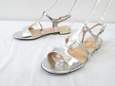 c4989a225513 J Crew Allie Metallic Gladiator Sandal Womens 10 Silver Leather Flat Ankle  Strap