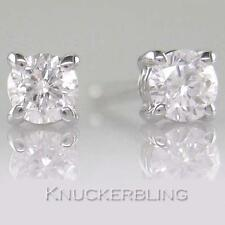 Genuine Diamond Solitaire Studs 0.20ct Brilliant Cut F Colour 18ct White Gold