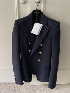 Balmain Double Breasted Wool/Twill Blazer - Navy (size 34)
