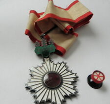 JAPANESE ORDER OF THE RISING SUN 3RD CLASS, NECK RIBBON, ROSETTE AND LACQUER BOX