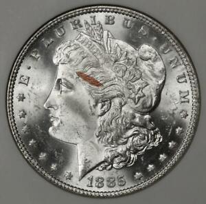 1885 NGC MS64 Struck In Copper Flake Morgan Silver Dollar Mint Error Unique Rare