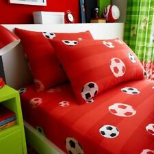 GOAL FOOTBALL SINGLE FITTED SHEET & PILLOWCASE SET RED CHILDRENS STRIPED