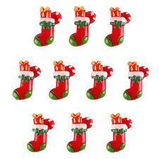 10PCS Christmas Stocking Socks for X'mas Resin Cabochon Flatbacks Hair Bow Craft