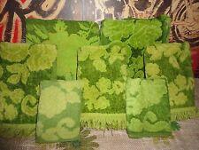VINTAGE CANNON MONTICELLO SEARS GREEN JACQUARD FLORAL VELOUR (7PC) TOWEL SET