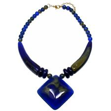 Blue acrylic oversized large pendant on a bead choker necklace tribal jewellery
