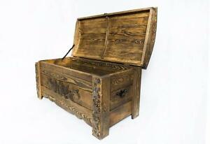 Wooden Vintage Blanket Trunk Box Coffee Table Chest Ottoman Furniture WFR1