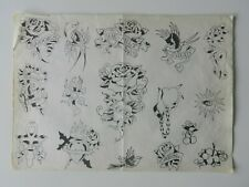 rare vintage MIKE MALONE tattoo flash production sheet 1980s NOT MACHINE