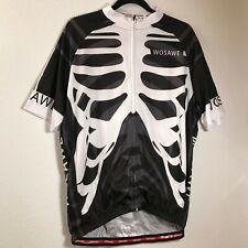 Wosawe Cycling Shirt Black Skeleton Short Sleeve Stretch Zip Up Pockets 2Xl Xxl