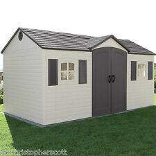 Lifetime Outdoor Garden Shed 15 x 8 ft. Side-Entry Storage Unit - Curbside Ship!