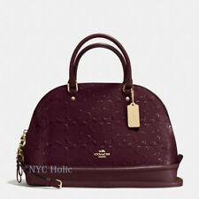 New Coach F55449 Sierra Satchel In Signature Debossed Patent Leather Oxblood NWT