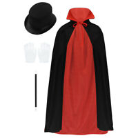 Kids Boys Girls Magician Costume Child Cosplay Party Cape Hat Wand Gloves Outfit
