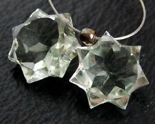 Natural Green Amethyst Star Briolette Semi Precious Gemstone Beads Matching Pair