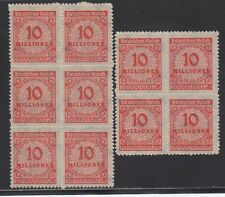 """GERMANY STAMP #301 — 10m  """"INFLATION"""" BLOCKS of 4 + 6 -- 1923 -- MINT"""