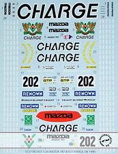 MAZDA 787B #202 CHARGE LM 1990 DECAL for 1/24 TAMIYA GACHOT WEIDLERS
