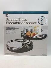 Kitchen Serving Trays: 2 Piece | Antique Black Finish | Steel (Mid-Sor14)