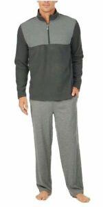 NEW Tommy Bahama Black & Grey 2pc Pajama Set Men's 1/4 Zip Knit MSRP $88 LARGE