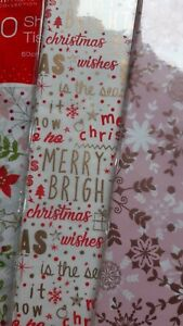 Christmas Tissue Paper 8 / 10 Sheets - Choose Design - Gift Wrapping - Xmas