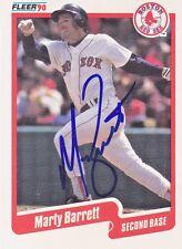 1990 Fleer #266 Signed Marty Barrett Red Sox 2B Autograph JSA