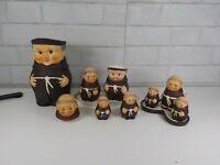 Vintage Lot of Friar Tuck Goebel Figurines Salt and Pepper And Pitcher