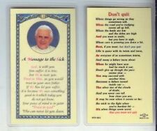 Pope Benedict XVI Message to the  Sick Laminated with Gold Foil Trim Holy Card