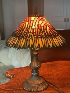 Medium , Tiffany Style Stained Glass Lamp, Leaded, 17 ""