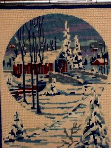 Mystic Night Snow Winter Church Bridge Original Art Needlepoint Handmade VINTAGE