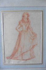 FRENCH SCHOOL 1731 - FIGURE STUDY SIGNED SPOEDE - FINE RED CHALK DRAWING