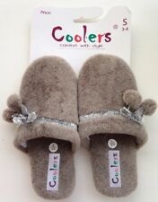 Coolers Ladies Brown Pom Pom Slippers Size S 3/4