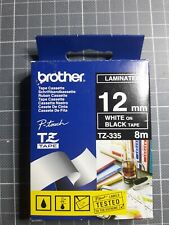 Brother P Touch Tape TZ-335 - 12mm White on Black - Neuf