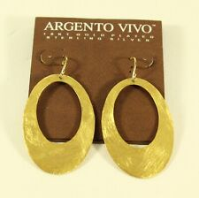 Argento Vivo Women's 18k Plated Silver Large Oval Drop Earrings